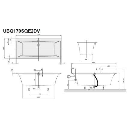 Cada baie rectangulara Villeroy & Boch Squaro Edge 12 170x75cm, compozit, alb