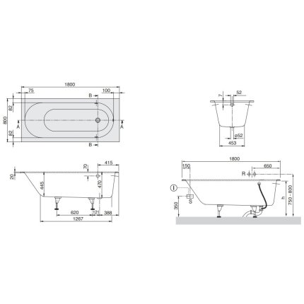 Cada rectangulara incastrabila Villeroy & Boch Oberon 180x80 cm