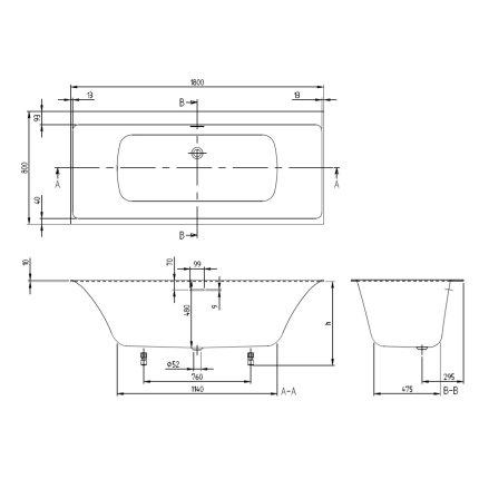 Cada baie rectangulara incastrabila Villeroy & Boch Subway 3.0 180x80cm, compozit