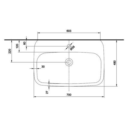 Lavoar Kolo Style 70x48cm