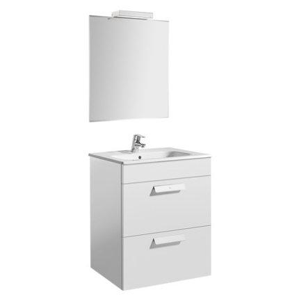 Set mobilier Roca Debba Standard dulap baza cu 2 sertare 60cm alb, lavoar si oglinda iluminata