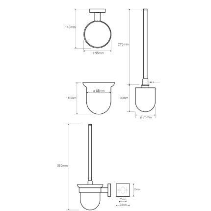 Suport cu perie vas toaleta Bemeta Beta negru