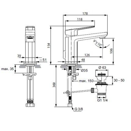 Baterie lavoar Ideal Standard Tonic II, ventil pop-up