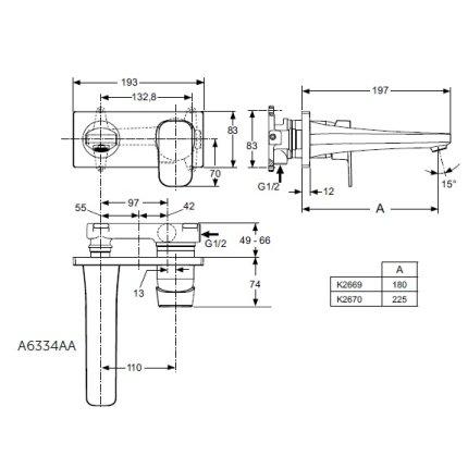 Baterie lavoar Ideal Standard Tonic II cu pipa turnata de 18cm, de perete, fara ventil, montaj incastrat, necesita corp ingropat
