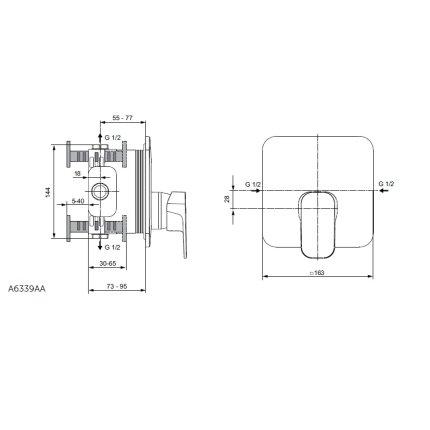 Baterie dus Ideal Standard Tonic II montaj incastrat, necesita corp ingropat