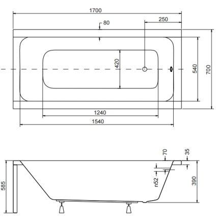 Cada baie rectangulara Besco Modern 170x70cm, acril