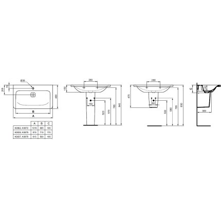 Lavoar Ideal Standard Tonic II 60cm