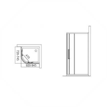 Cabina de dus asimetrica Ideal Standard Kubo R Swim 75x95
