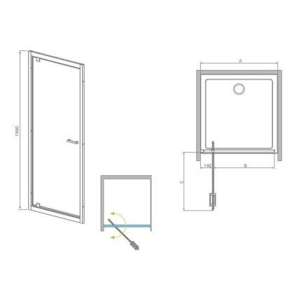 Usa de dus Radaway Twist DW 100 cm, tip pivot, sticla anticalcar 6 mm
