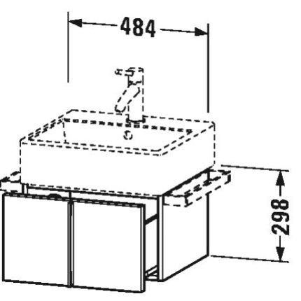 Dulap baza suspendat Duravit Vero Air 484x298mm, cu un sertar, gri ciment mat