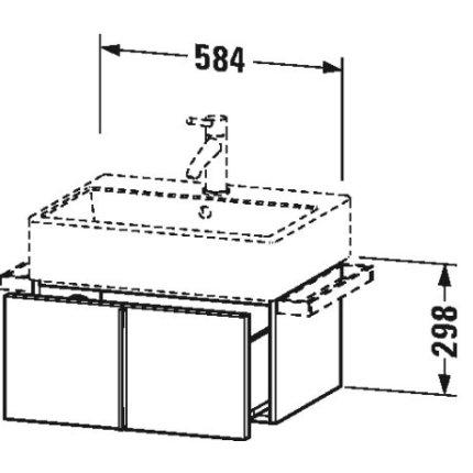 Dulap baza suspendat Duravit Vero Air 584x298mm, cu un sertar, gri ciment mat