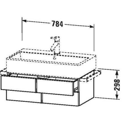 Dulap baza suspendat Duravit Vero Air 784x431mm, cu doua sertare, alb mat