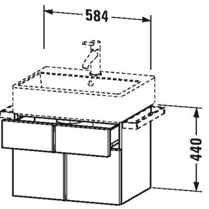 Dulap baza suspendat Duravit Vero Air 584x440mm, cu doua sertare, gri ciment mat