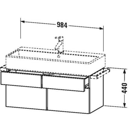 Dulap baza suspendat Duravit Vero Air 984x431mm, cu doua sertare, alb mat