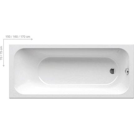 Cada baie rectangulara Ravak Chrome Slim 150x70cm, acril
