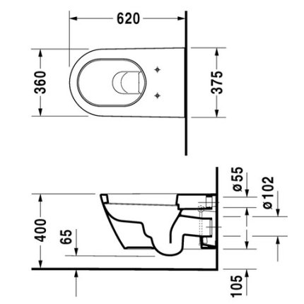 Vas WC suspendat Duravit Starck 2 375x620mm