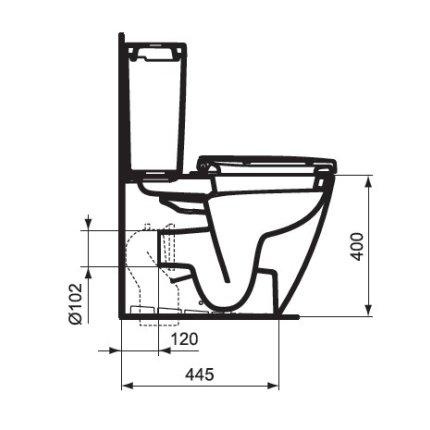 Set vas wc Back to wall Ideal Standard Connect Space compact, cu rezervor alimentare laterala si capac cu inchidere lenta