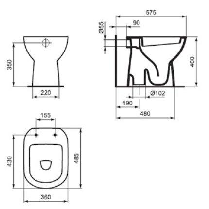 Vas WC Ideal Standard Tempo pentru rezervor ingropat, evacuare verticala