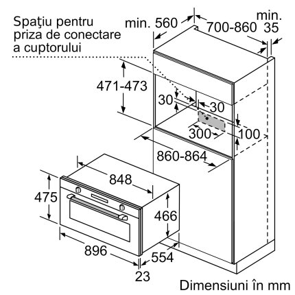 Cuptor electric incorporabil Bosch VBC5580S0 Serie 6, 90cm, 10 functii, 85 litri, convectie 3D, autocuratare catalitica, inox