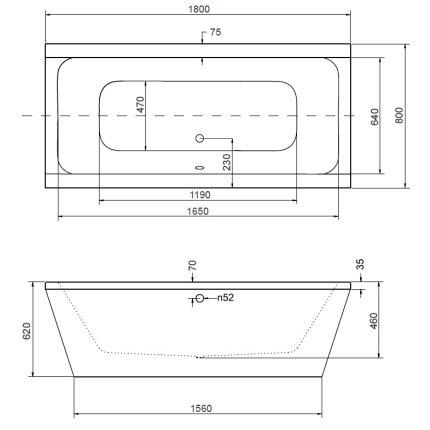 Cada rectangulara free-standing Besco Vera 180x80
