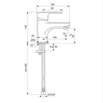 Baterie lavoar Vidima Calista, ventil pop-up