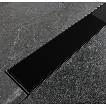 Pachet rigola de dus Besco Virgo Black cu capac sticla neagra 70cm