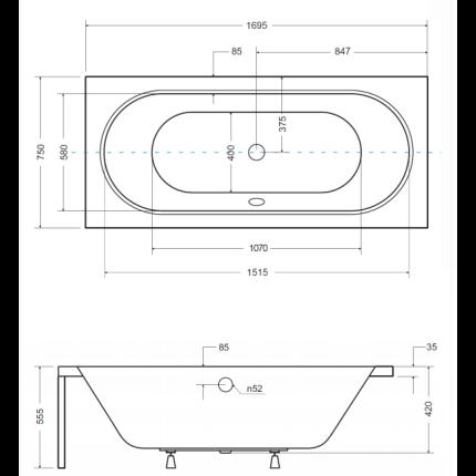 Cada baie rectangulara Besco Vitae 170x75cm, acril