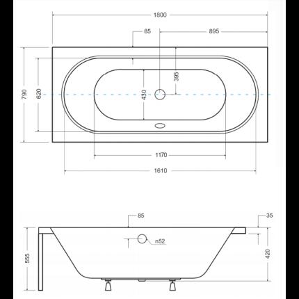 Cada baie rectangulara Besco Vitae 180x80cm, acril