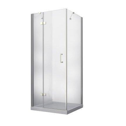 Cabina de dus patrata Besco Viva, 80x80x195 cm, profil crom, sticla transparenta securizata de 8 mm