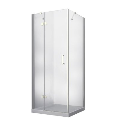 Cabina de dus patrata Besco Viva, 90x90x195 cm, profil crom, sticla transparenta securizata de 8 mm