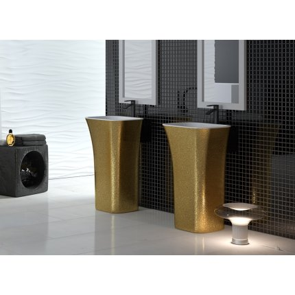 Lavoar pe pardoseala Besco Assos Glam 40x50x85cm, compozit mineral, Gold