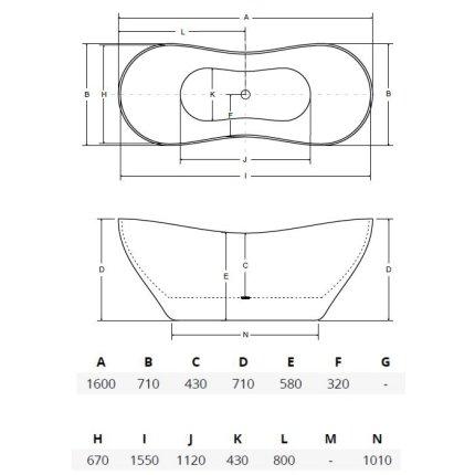 Cada free-standing Besco Viya Black & White 160x70cm