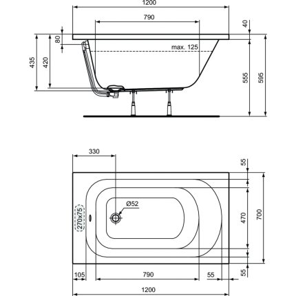 Cada baie rectangulara Ideal Standard Simplicity 120x70cm, acril, montaj incastrat