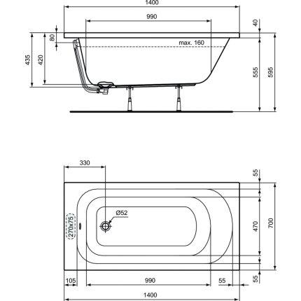 Cada rectangulara Ideal Standard Simplicity 140x70cm, pentru montaj incastrat