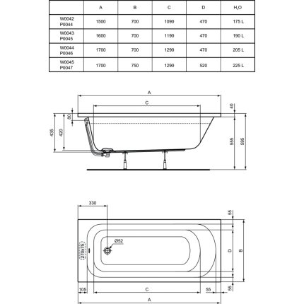 Cada rectangulara Ideal Standard Simplicity 170x75cm