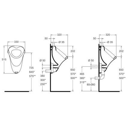 Urinal cu alimentare superioara Vidima SevaMix, alb
