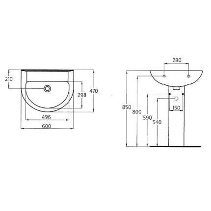 Lavoar Ideal Standard Eurovit 60cm