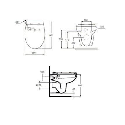 Vas WC suspendat Ideal Standard Eurovit Ecco cu functie de bideu