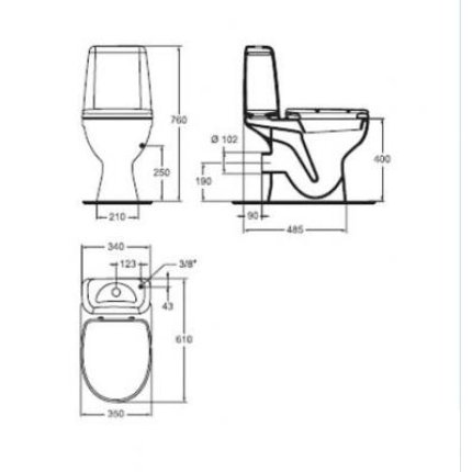 Set complet vas WC Vidima Sirius cu rezervor si capac