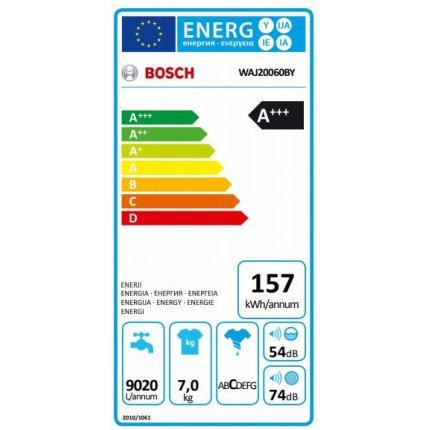 Masina de spalat rufe Bosch WAJ20060BY Serie 2, 7kg, 1000rpm, EcoSilence Drive, clasa A+++, alb