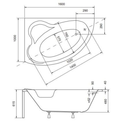 Cada asimetrica Besco Ada 160 x 100 cm, varianta stanga