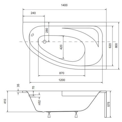 Cada baie asimetrica Besco Cornea 140x80cm, acril, orientare dreapta
