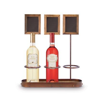 Suport sticle cu tabla de scris Securit Bottle Display 45x39x11,3cm, maro