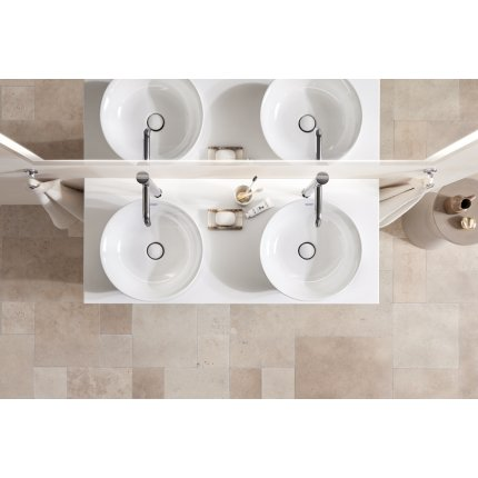 Lavoar Duravit White Tulip 50cm, fara preaplin, fara orificiu baterie, montare pe mobilier, ventil ceramic, alb