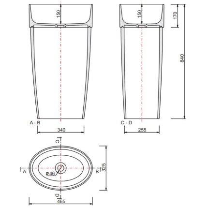 Lavoar Besco Uniqa 32x46x84cm, montare pe pardoseala, alb