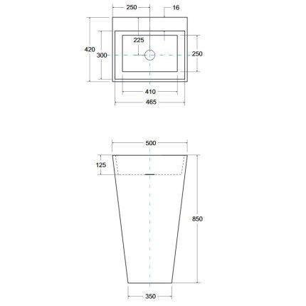 Lavoar pe pardoseala Besco Vera 40x50x85 cm, fara orificiu baterie