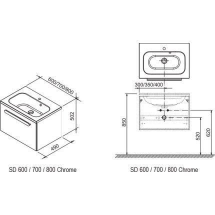 Dulap baza pentru lavoar Ravak Concept Chrome SD 700 cu un sertar, 70x49x47cm, cappuccino-alb