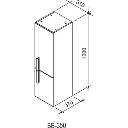Dulap inalt tip coloana Ravak Concept Chrome SB 350 cu doua usi, stanga, 35x37x120cm, alb