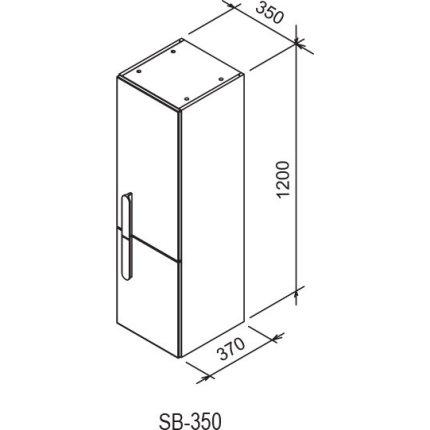 Dulap inalt tip coloana Ravak Concept Chrome SB 350 cu doua usi, stanga, 35x37x120cm, cappuccino-alb