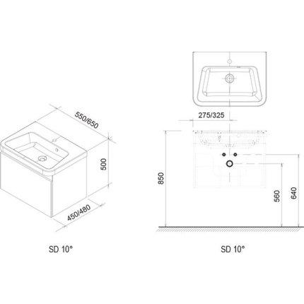 Dulap baza pentru lavoar Ravak Concept 10° cu un sertar, 65x45x45cm, alb
